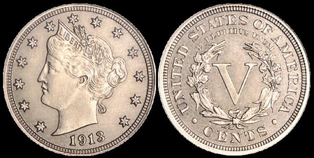 Никелевая монета 1913 - Liberty Head