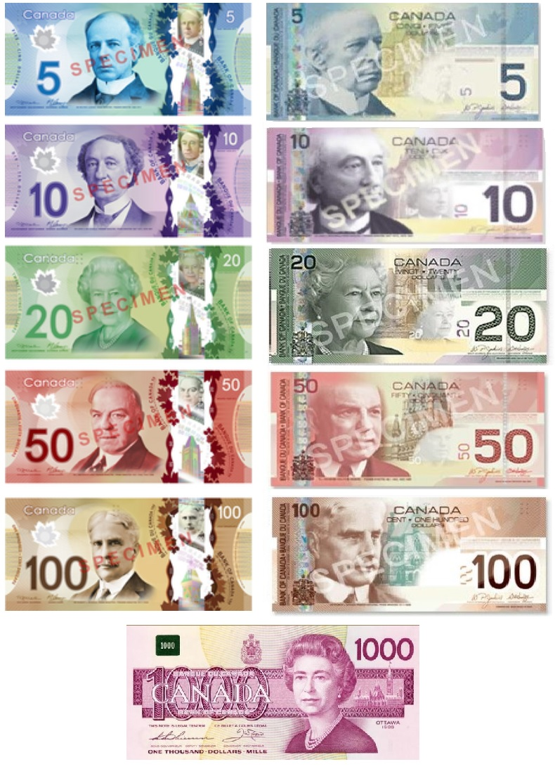 Банкноты канадского доллара ФОТО